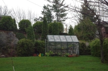 The greenhouse - love this building and it gets so much use. You can see the plants along the north wall hardening off. Everything will go back inside tonight as tomorrow and Sunday are supposed to be quite cool. There is a very small heater & fan in the greenhouse that keeps the inhabitants happy and safe.